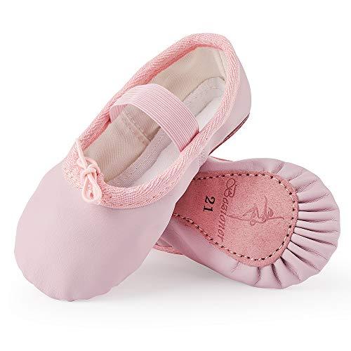 Bezioner Zapatillas de Danza Cuero Zapatos de Ballet y Gimnasia Baile para Niña y Mujer Rosa 20