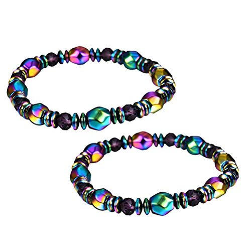 HEALIFTY Weight Loss Hematite Beads Magnetic Bracelet for Men Women 2pcs