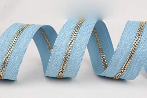 Einzelner offener Metallreißverschluss, puderblau, azurblau, türkis, grün, militärisch, schwarzgrün, Metall-Reißverschlussrolle, A17 puderblau, 5#