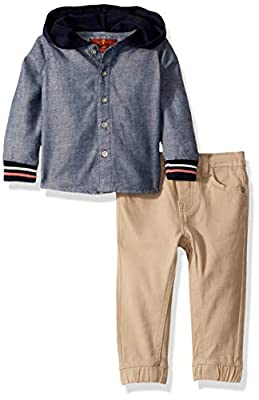 7 For All Mankind Baby Boys 2 Piece Set, Chambray/Stone, 24M