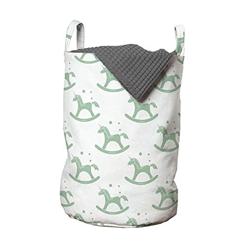 ABAKUHAUS Infantil Bolsa de lavandería, Mecedora Sillas unicornio Arte, Cesta con asas Cierre de cordón para las lavanderías, 33 x 33 x 49 cm, Almendra verde y blanco
