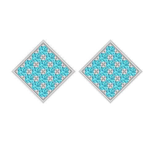 Pendientes cuadrados, 1,60 quilates, forma redonda, 2 mm, topacio azul suizo, pendientes de racimo, joyas de oro macizo, pendientes de tuerca para mujer, tornillo hacia atrás