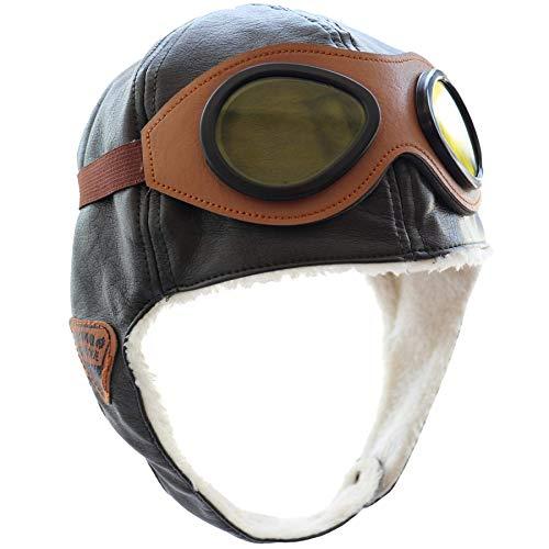 JunYi Gorro de aviador para bebé, de invierno, cálido, con orejeras, de piel, con protección para los oídos, con gafas para primavera, otoño e invierno, color marrón