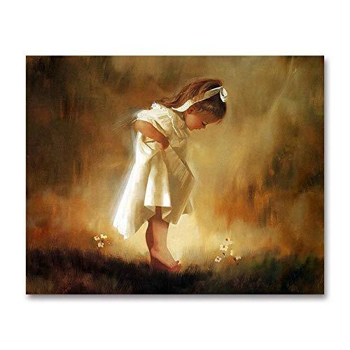 thfff Sztuka malowanie według liczb DIY meble dziecięce dekoracyjne malowidło mała dziewczynka biała spódnica anioł wypełnienie