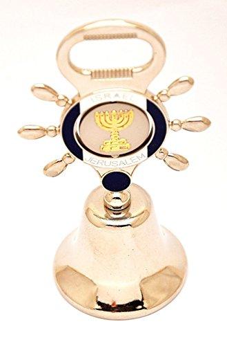 Gerusalemme in metallo placcato argento campana con Menorah mano simbolo in apribottiglie