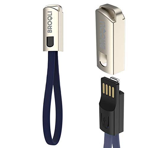 BROQLI Keychain Fast Charging Cable for iPhone 11/11Pro/11Pro Max/X/Xs/XR/Xs Max/8/7/6/6s Plus/5s/SE/iPad/Pro/iWatch/AirPods (9-Inch) Best Portable Mini Size for Travel, Gym, Office (Navy)