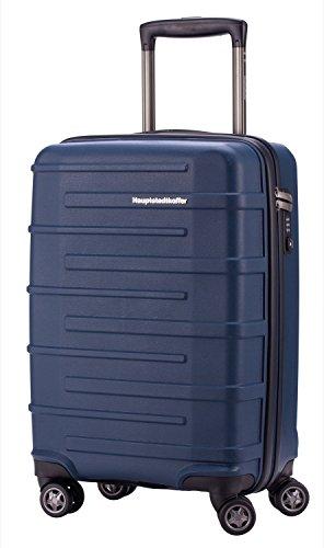 Capitale-Ostkreuz Bagaglio a mano Valigia Trolley valigia TSA 37litri-blu opaco + valigetta ciondolo in rosso
