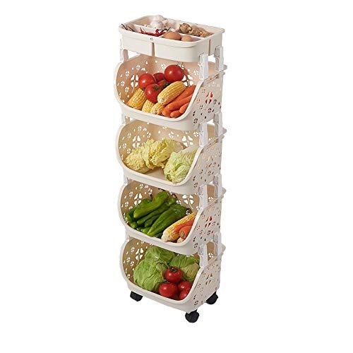 JDSFKX Carrito de Cocina Apilable con Tapa Cesta de Almacenamiento Estante de Almacenamiento Puesto de Frutas y Verduras, Carro de...