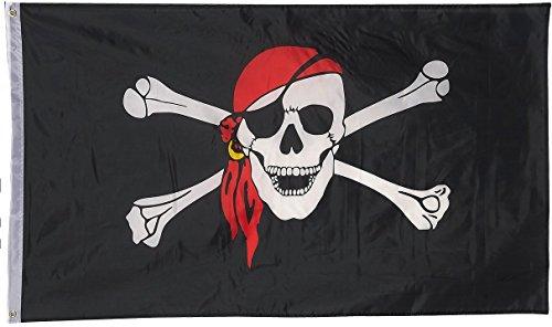 Drapeau de tête de Mort Pirate 150 cm x 90 cm avec 2 Oeillets en Laiton