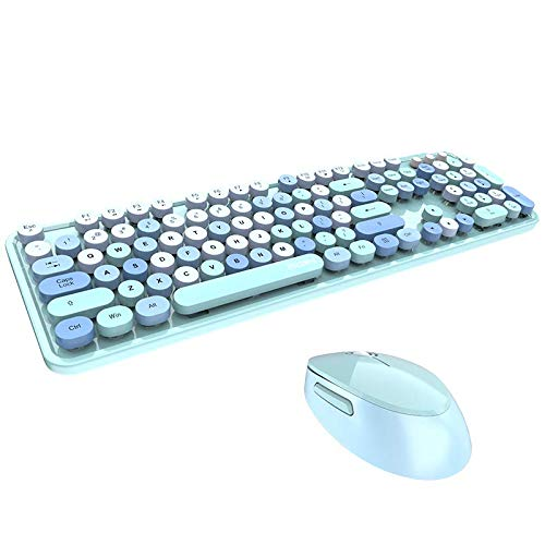 Wireless Keyboard and Mouse Combo Ergonomic Full-Sized 104-Key Cute Round Keycaps Keyboard, 2.4GHz Dropout-Free Connection Design Compatible with PC, Computer, Laptop for Most Systems (Blue Colorful)