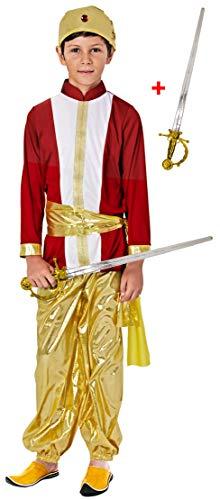 Gojoy shop- Disfraz de Hindu para Nio y Nias Carnaval (Contiene Gorro y Camiseta y Pantaln y fajn,y Espada o Top y Falda Con Pauelo , 4 Tallas Diferentes) (Nio, 3-4 aos)