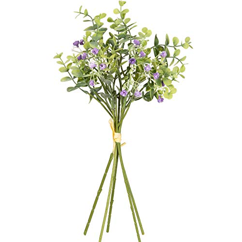 Whaline 3 Bunches Artificial Eucalyptus Leave Stems with Purple Gypsophila 15pcs Faux Silk Eucalyptus Vine Twigs Fake Greenery String for Flower Arrangement Garden Yard Home Party Wedding Wreath Decor