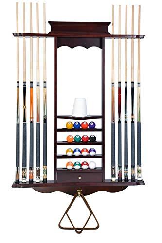 Cue Rack Only- 10 Pool - Billiard Stick & Ball Wall Rack...