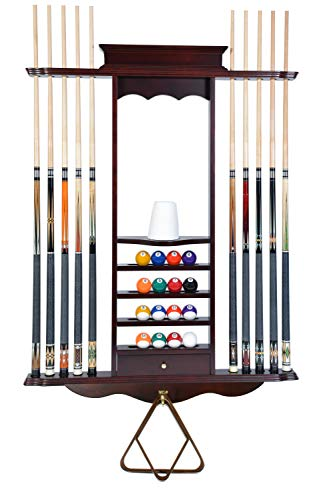 Cue Rack Only- 10 Pool - Billiard Stick & Ball Wall Rack...