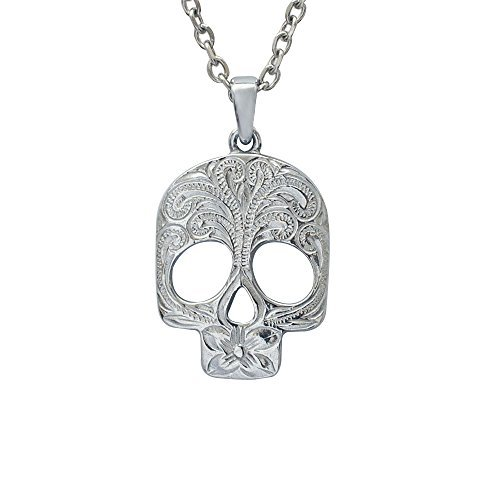 Hawaiian Jewelry by Austaras - Skull Necklace Pendant Hawaii Style Hypoallergenic 316L Stainless Steel 925 Sterling Silver Plated Engraved with Hibiscus Flower and Expandable Chain