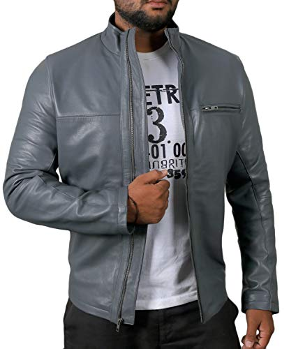 Laverapelle Men's Genuine Lambskin Leather Jacket (Gray, Extra Large, Polyester Lining) - 1501135