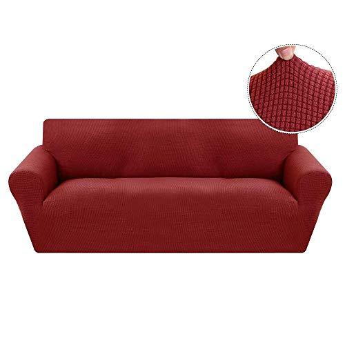 Cxssxling - Funda de sofá Extensible con reposabrazos elástico, 1 Plaza, Color marrón, Rojo, 3 Place