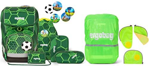 ergobag cubo ElfmetBär Schulranzen-Set 5tlg. + Sicherheitsset & Regencape Grün