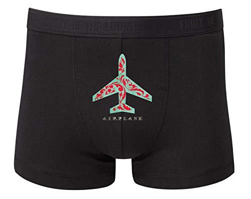 Druckerlebnis24 Boxershort - Flugzeug Flieger Silhouette Airplane - Unterhose für Herren und Männer