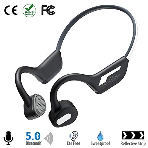 Bone Conduction Headphones Bluetooth 5.0 Open-Ear Wireless Sports Headsets w/Mic for Jogging Running Driving Cycling, Lightweight-1.2 oz (Grey)