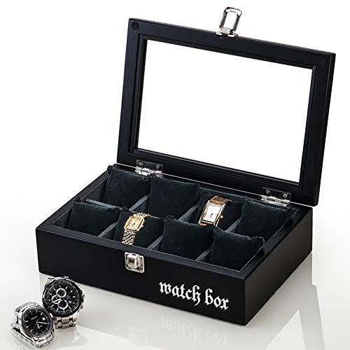 ZHAYEUK ZHAYEUK Holz Uhrenbox Uhrenkoffer 8 Uhren Einzel for Herren Damen, Groß Uhrenkasten männer Kasten Uhren Uhrenaufbewahrung for den Ehemann, (schwarz, 28 x 19 x 8 cm)
