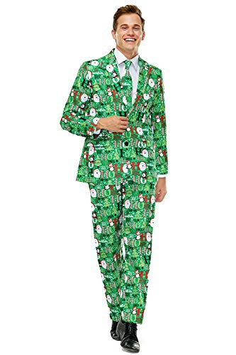 Ugly Mens Christmas Party Suit Bachelor Funny Costume Novelty Xmas Regular Fit Suits with Trousers and Tie