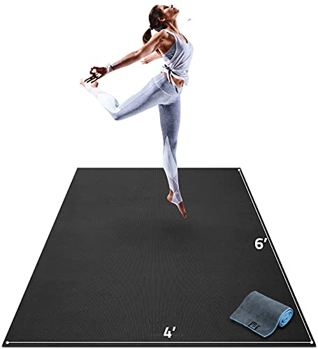 Gorilla Mats Premium Large Yoga Mat – 6' x 4' x 8mm Extra Thick & Ultra Comfortable, Non-Toxic, Non-Slip Barefoot Exercise Mat – Works Great on Any Floor for Stretching, Cardio or Home Workouts