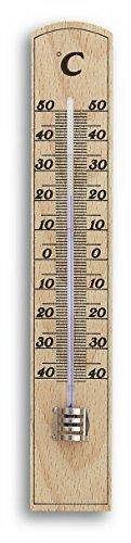TFA Dostmann Analoges Innenthermometer, hohe Genauigkeit, aus massiven Buchenholz