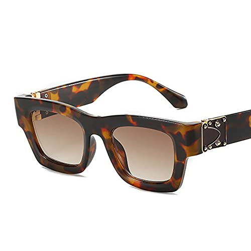 HAIGAFEW Gafas De Sol Clásicas De Espejo Rojo para Mujer Gafas De Sol Blancas Y Plateadas Gafas Uv400 para Mujer Proteger Los Ojos-Leopardo