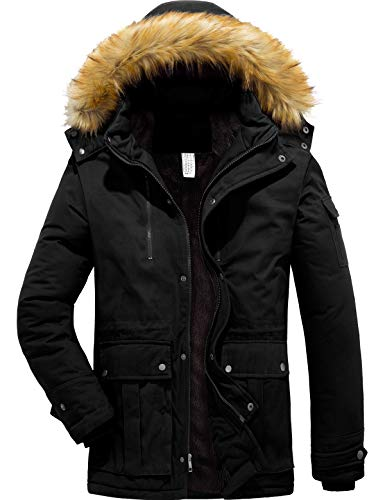 YXP Men's Winter Warm Thicken Coat Hooded Jacket Fleece Lined Parka (Black,Medium)