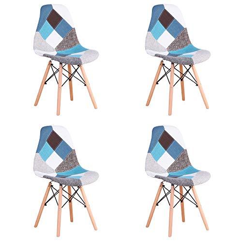 BenyLed Juego de 4 Sillas de Comedor de Tela con Diseño de Retazos y Combinación de Tela Moderna R
