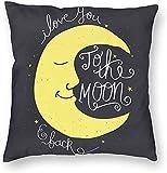 Funda de almohada decorativa I Love You to The Moon and Back Cita romántica, funda de cojín cuadrada estándar para hombres y mujeres, decoración del hogar, 45,7 x 45,7 cm