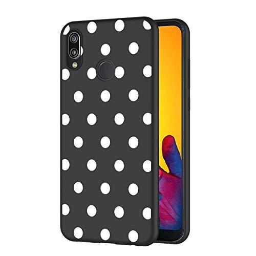 ZhuoFan Funda Huawei P20 Lite Cárcasa Silicona Ultrafina Negra con Dibujos Diseño Suave TPU Gel Antigolpes de Protector Piel Case Cover Bumper Fundas para Movil Huawei P20Lite 2019, Lunares Blanc