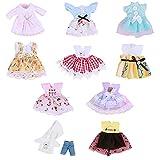 FINIMY Juego de Juguetes de Disfraz de Princesa de muñeca de 10 Piezas, Disfraz de Tela de muñeca de 7 Pulgadas, Ropa de muñeca Bonita Hecha a Mano, Adecuado para Regalos navideños para niños