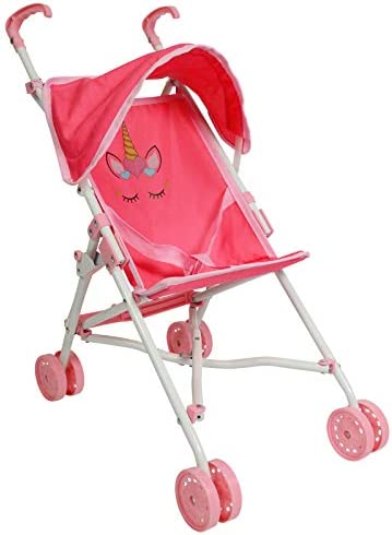 The New York Doll Collection My First Umbrella Doll Stroller with Canopy Travel Baby Doll Stroller product image