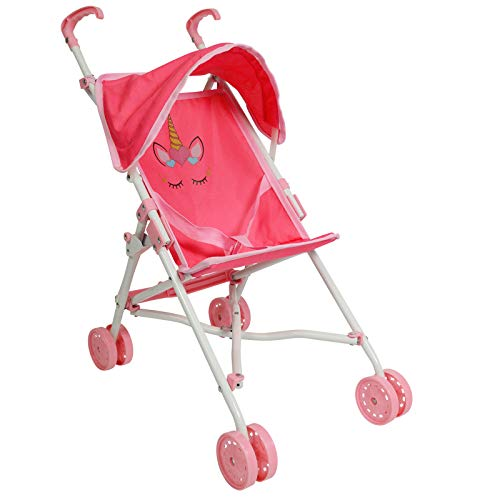 The New York Doll Collection My First Umbrella Doll Stroller with Canopy - Travel Baby Doll Stroller … (Unicorn)