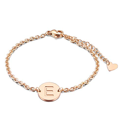 THREE KEYS JEWELRY E Womens Girls Rose Gold Simple Alphabet Stainless Steel Heart Pendant Circle Disc Coin Small Stainless Steel Dainty Heart Initial Bracelet