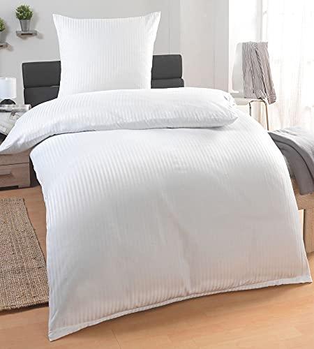 MALIKA® Damast Hotelbettwäsche   Satin Bettwäsche 135x200 mit 80x80 Kissenbezug   Bettwäsche mit Baumwolle für EIN besonders wohliges Hautgefühl, Farbe:Weiß Reißverschluss, Größe:135x200 + 80x80