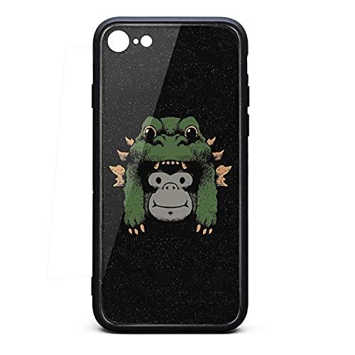 [Prueba de caída de Grado Militar] King Kong y Godzilla Hat Funda rígida para iPhone 7/8 / SE Cover 9H Hecha de Vidrio Templado para iPhone 7/8 / SE