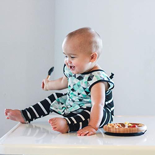 Smart Start Avanchy アヴァンシー ひっくり返らない 離乳食食器 プレート 吸盤・スプーン付き ブラック