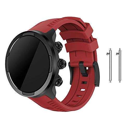 Digit.Tail 24mm Silikon Armband Ersatzband Replacement Wechselarmband Sport Uhrenarmband für Suunto 9, Suunto 7, Suunto D5, Suunto Spartan Sport Wrist HR Smartwatch (Rot)