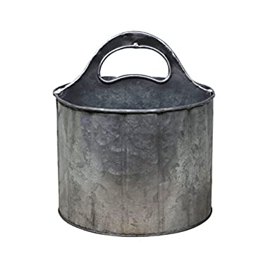 PD Home Round Metal Divided Caddy with Handle | Rustic Farmhouse Style