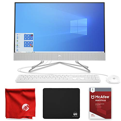 HP 24-inch All-in-One Touchscreen Desktop Computer (AMD Ryzen 5 4500U 2.3GHz, 12GB RAM, 512GB SSD, Windows 10 Home 64-Bit Bundle with McAfee Antivirus 1-Year, Mousepad and Microfiber Cloth (24-dp0160)