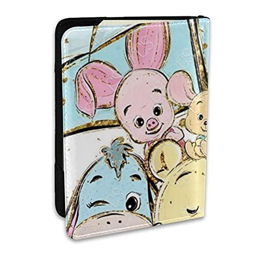 Winnie Cartoon Pooh - Soporte para pasaporte de piel impresa, tarjeta de crédito y tarjeta de identificación