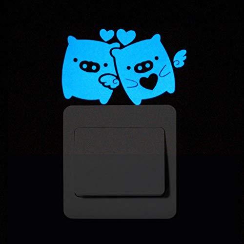Adhesivo luminoso para interruptor de pared, diseño de dibujos animados brillantes, decoración de la habitación del hogar, gato, perro, luna, ballena, gecko, cerdo, coche, beso de la Federación de Rusia