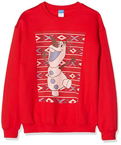 Frozen Men'S Christmas Olaf Smile Sweatshirt Felpa, Rosso (Red 008), XX-Large Uomo