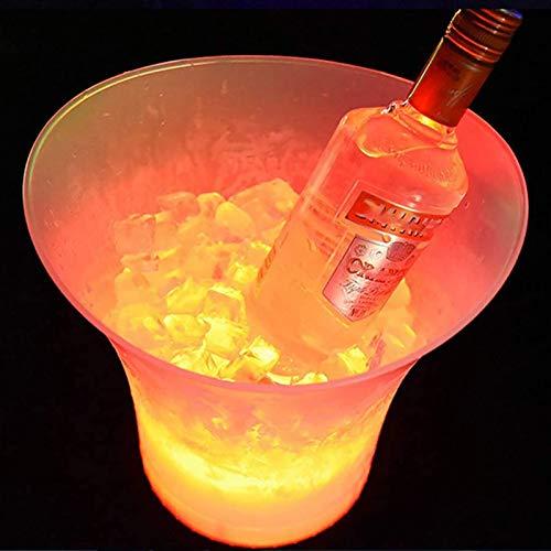 R&P 5L Colorido LED Luz Hielo Cubo de Champán Vino Cerveza Enfriador Usado para Boda Bar Fiesta(Baterías no Incluidas)