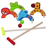 Juego de croquet de madera Jacootoys Jungla Animales Juguetes de golf Juegos educativos familiares para niños al aire libre