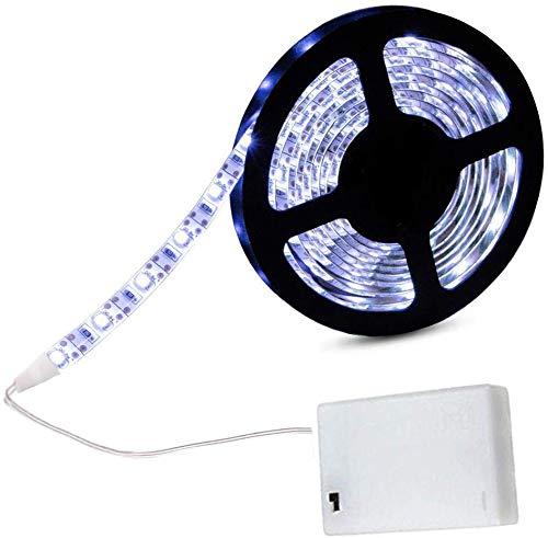 cuzile tira luz LED Color Blanco 200 cm 66 in. + Tira LED Luz batería caja + interruptor, funciona con pilas