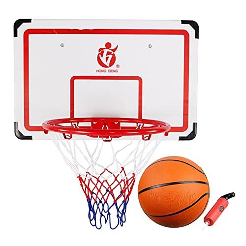 Pkssswd Basketball Hoop for Kids Set Wandmontierter Basketball-Reifen für Kinder, Türhänge Basketballrandziel mit Ballnetzpumpe, Indoor Outdoor Gámes System (Size : W50×H37CM)
